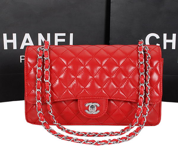 Chanel 2.55 Series Bag 1112 Red Sheepskin Leather Silver