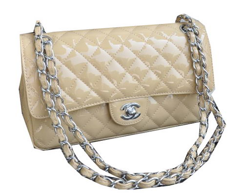 Chanel 2.55 Series Bag Apricot Sheepskin Leather CHA1112 Silver