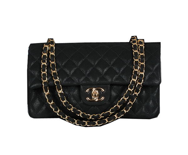 Chanel 2.55 Series Classic Flap Bag 1112 Black Original Cannage Pattern Leather Gold
