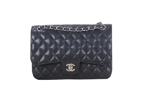 Chanel 2.55 Series Classic Flap Bag 1112 Black Original Cannage Pattern Leather Silver