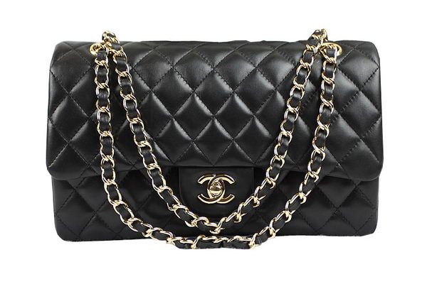 Chanel 2.55 Series Classic Flap Bag 1112 Black Original Sheepskin Leather Gold