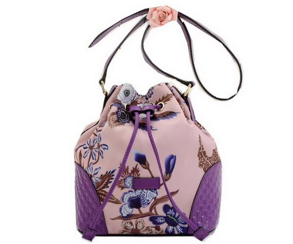 Gucci Camouflage Leather Bucket Bag 354228 Purple