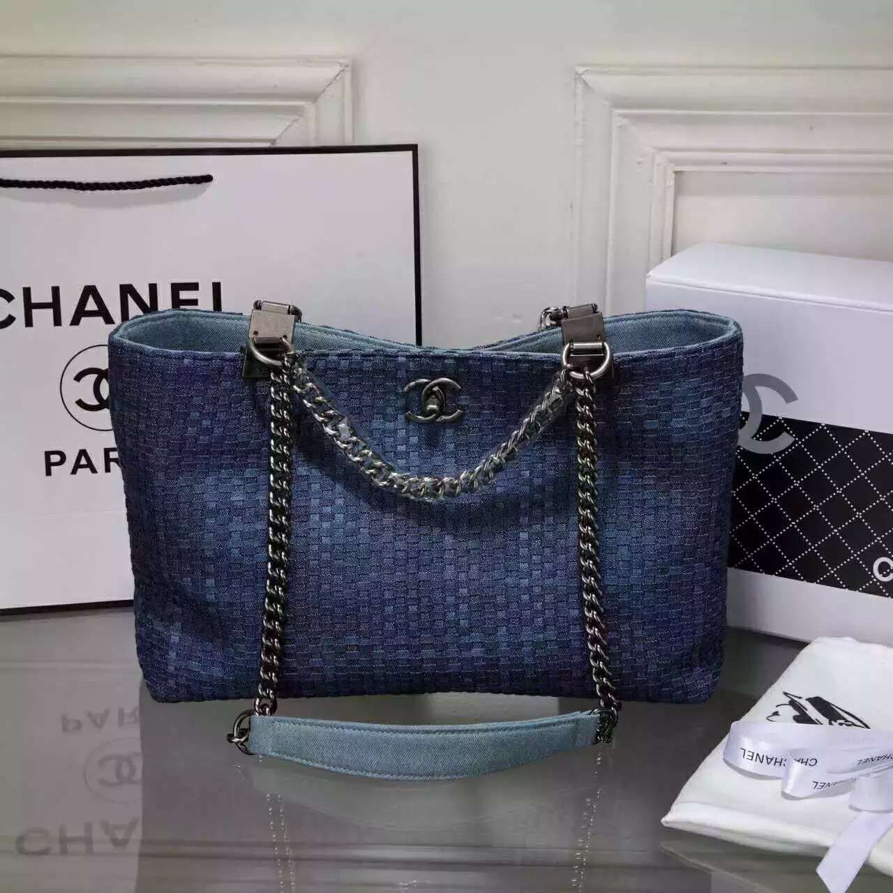 Chanel Canvas Weave C80779 Blue