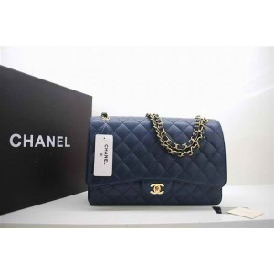 Chanel A47600 Caviar Blue Leather Flap Borse Maxi Con Hardware O