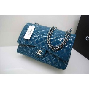 Chanel A47600 Dark Blue Patent Leather Flap Borse Maxi Con Ecs