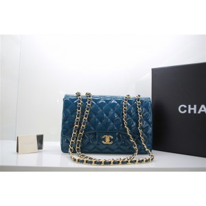 Chanel A47600 Flap Borse In Vernice Con Blue Gold Hw Jumbo
