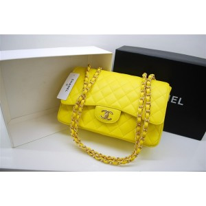 Chanel A47600 Giallo Caviar Leather Borse Jumbo Flap Con Oro Hw