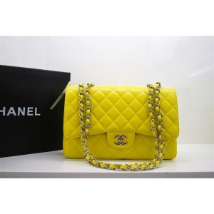 Chanel A47600 Giallo Caviar Leather Borse Jumbo Flap Con Shw