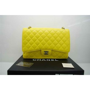 Chanel A47600 Giallo Caviar Leather Flap Borse Maxi Con Ecs