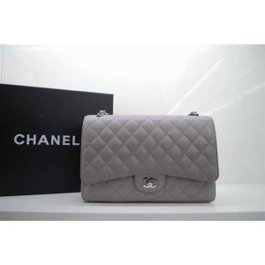 Chanel A47600 Grigio Caviar Leather Flap Borse Maxi Con Ecs