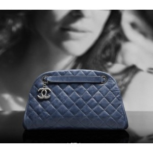 Chanel A66868 Y07404 84223 Borse Bowling In Pelle Di Vitello Blu