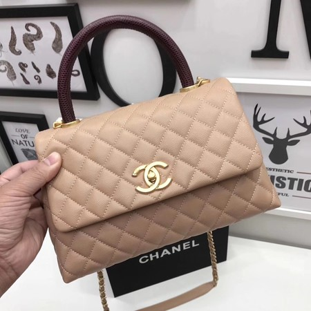 Chanel Classic Red Top Handle Bag Apricot Original Leather A92991 Gold