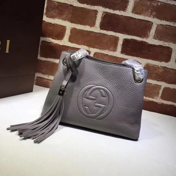 Gucci Soho Small Tote Bag Calfskin Leather 387043 Grey