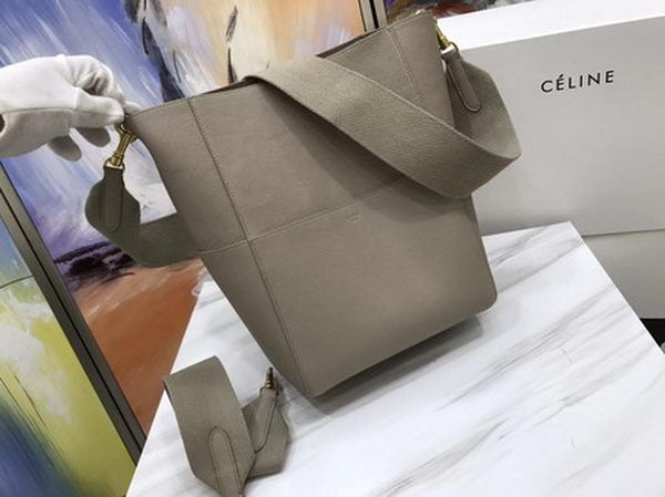 CELINE Sangle Seau Bag in Calfskin Leather C3369 Apricot