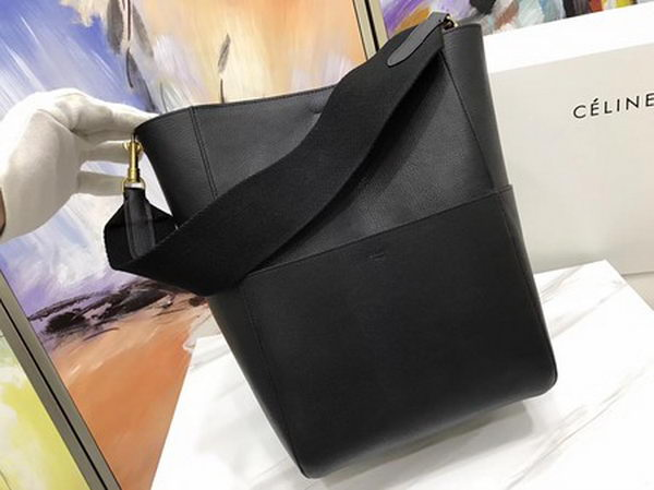 CELINE Sangle Seau Bag in Calfskin Leather C3369 Black