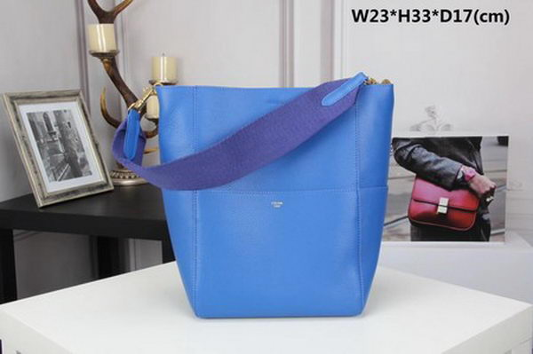CELINE Sangle Seau Bag in Calfskin Leather C3369 Blue