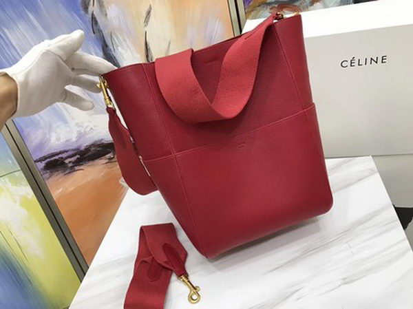 CELINE Sangle Seau Bag in Calfskin Leather C3369 Red