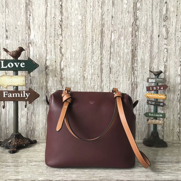 Celine Sheepskin Leather Shoulder Bag 90059 Coffee