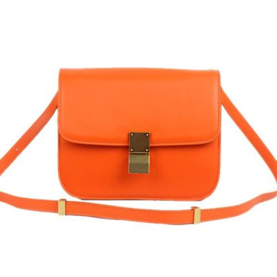 Celine Chiusura Classic Media Orange Box Bag