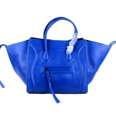 Celine Boston blu Togo in pelle Borse