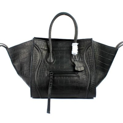 Celine Boston Croco nero Pelle Borse