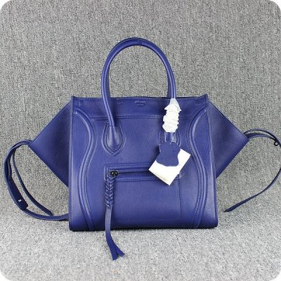 Celine Boston Navy Blue Piazza vitello Borse