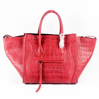 Celine Boston Red Croco Leather Borse