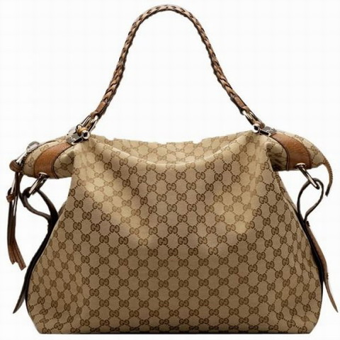 Gucci Outlet Bamboo Bar Large Tote 232927 Beige / Marrone chiaro