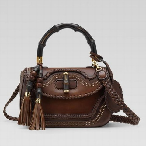 Gucci New Bamboo Top Handle Bag 263970 in Dark Brown
