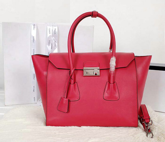 2014 Prada Glace Calf Leather Flap Bag BN2661 a Rose