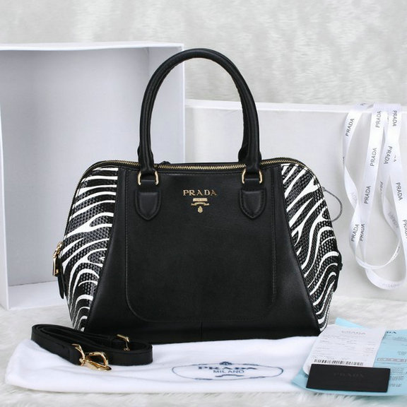 2014 Prada doppia zip Tote BN2282 in Black Leather