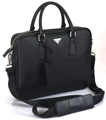 Prada Saffiano Leather Briefcase VA0791-Nero