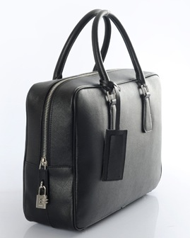 Prada Saffiano Leather Briefcase VS0088 in Nero