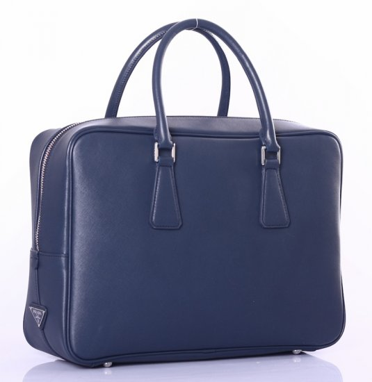 Prada Saffiano Leather Briefcase VS0088 in blu