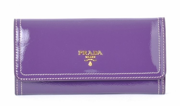 Prada Patent Leather Wallet M201 in viola