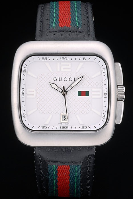 Gucci Black Leather Strap Polished Stainless Steel Bezel White Dial 80217
