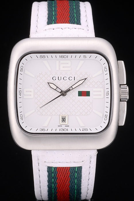 Gucci White Leather Strap Polished Stainless Steel Bezel White Dial 80218