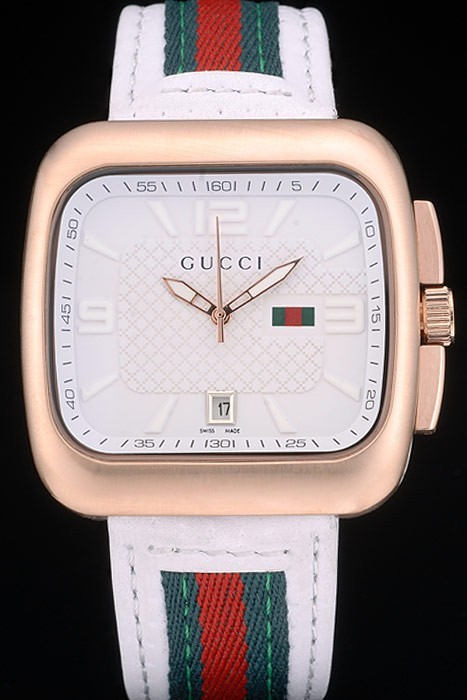Gucci White Leather Strap Rose Gold Bezel White Dial 80223