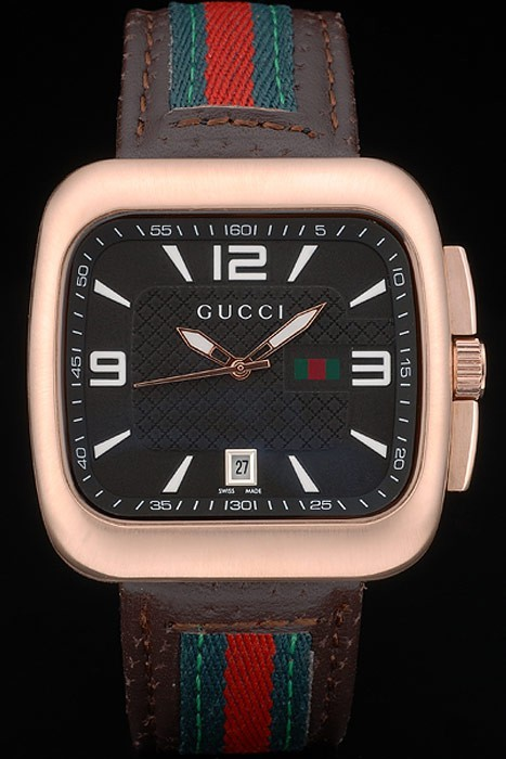 Gucci Brown Leather Strap Rose Gold Bezel Black Dial 80221